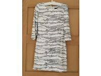 Silver and White sequinned dress. Size 8