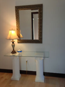 REGAL PEDESTAL TABLE WITH GLASS TOP - PERFECT CONDITION!