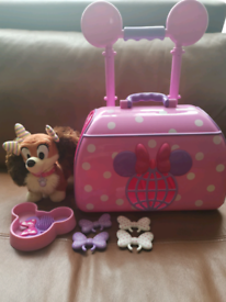 Clubhouse Disney Store Pink Pet Carrier Case Trolley & Fifi dog