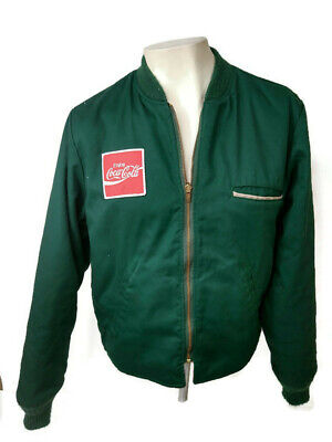 Vintage Coca-Cola Men's Work Jacket Size Small Coke Green