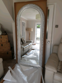 Stunning huge 2000mm x 900mm platinum silver arched top leaner mirror
