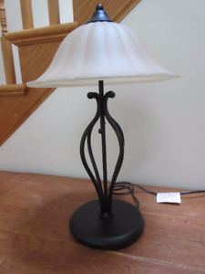 Beautiful Metal and Glass Table Lamp - Very heavy, great quality