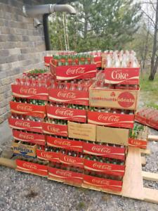 1960's Bottles Coke. PEPSI, 7UP, cases