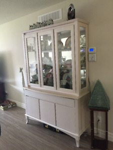 solid maple china cabinet (buffet with hutch) with light