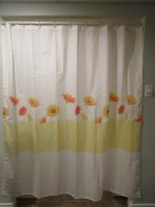 Rideau de douche avec 12 crochets transparents