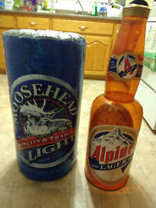 Blow up beer bottle and up beer can great for a bar in a house b