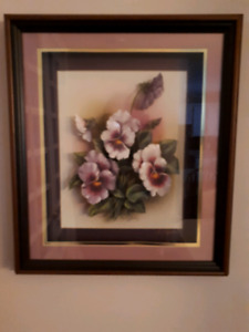 Paper Tole Pansies with Frame