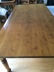 Solid Pine handcrafted harvest table with extension leaf Cambridge Kitchener Area image 2