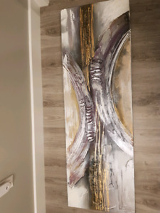 purple, grey and gold canvas