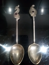 Two Vintage Silver Plated Spoons with Ruby Stones in Handle - Rare