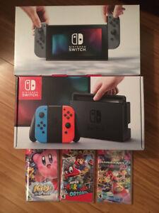 "Nintendo switch console ""brand new "" sealed NEON/GREY ""w reciept"