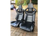 Leather bucket car seats