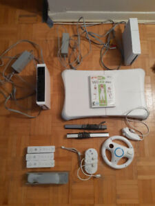 Wii System with Wii Fit and multiple controllers