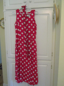 Pink & white polka dot dress (with belt)