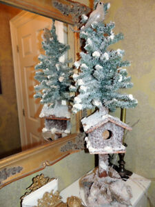 Christmas Tree with Bird House (on stand, burlap & twigs)