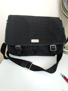 AUTH COACH messenger/laptop bag  with leather trim