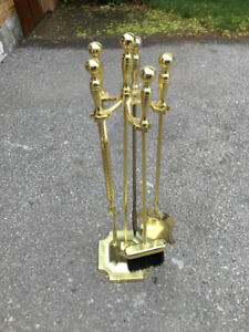 4 piece + stand brass fireplace tool set