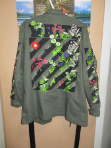 """OFF WHITE JACKET//SHIRT EMBROIDERED """"FLORAL"""""""