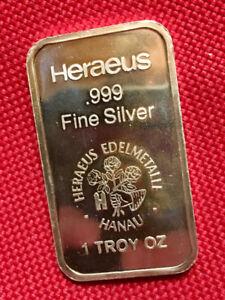 1 oz Heraeus (Germany)  999 Fine Silver Bar