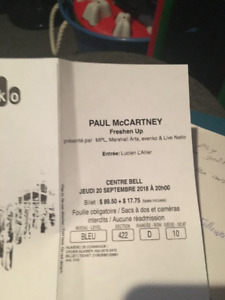 Paul McCartney ticket/billet freshen up 20 septembre MTL