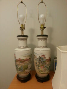 Pair of LARGE Oriental Table Lamps with Shades