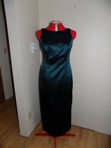 Teal/Green Satin Dress with Train Size12