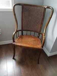 Classic Antique Wing Back Cane Chair
