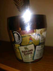 Vintage Ice Cube Bucket adorn with Liquor Bottle Labels New Cond