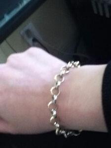Beautiful 10k white/yellow gold rolo link bracelet