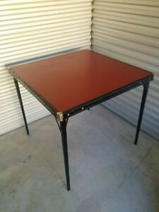 Small, Square, Vintage Folding Card Table (deep red)