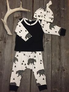 3pc Baby Bear Oh Deer Baby Gear Outfit (0-3m)