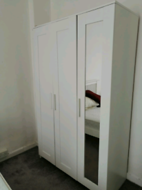 FREE Local Delivery Triple Door Mirrored White Wardrobe.