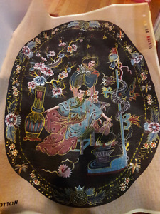 Large Needlepoint with beads and yarn