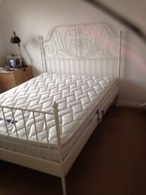 Kingsize metal frame bed with new silent night mattress