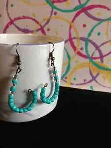 Bronze earrings with turquoise beads London Ontario image 1