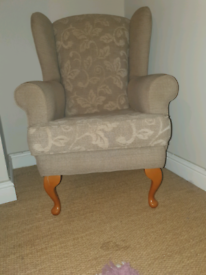 Vintage winged back arm chair
