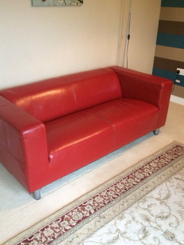 Red Leather 2 Seater Ikea Sofa In Portishead Bristol