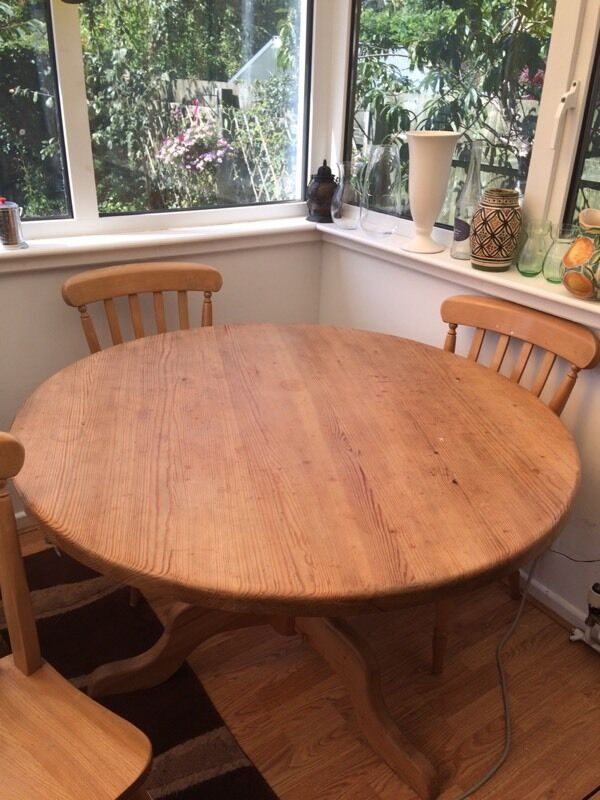Solid scrubbed pine table and chairs
