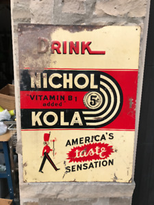 VINTAGE DRINK 5 CENT NICHOL KOLA EMBOSSED TIN SIGN