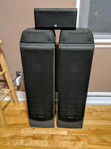 2 Optimus tower speakers and an Epic center speaker