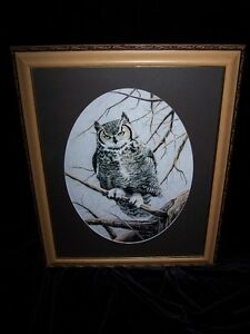 STUNNING OWL PERCHED ON BRANCH by GAIL ADAMS SIGNED/DATED '94