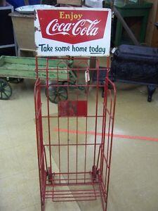 Antique Coca Cola, case holding cart, display