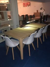 NEW -Ebbe Gehl 6-8 Extending Dining Table Complete with 4 Modern white P.U Dining chairs