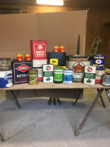 Assortment of vintage oil and honey cans