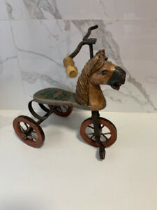 Antique hand carved wooden horse tricycle