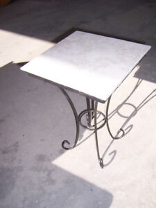 19 inch high, 13 inch square metal legs plant stand with tile to