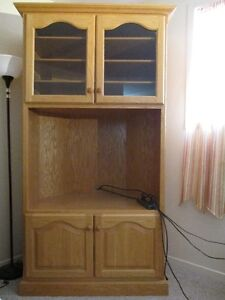 LARGE CUSTOM MADE TV SHELF AND CHINA CABINET COMBINED
