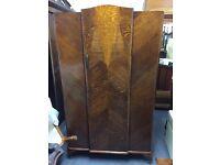 Vintage oak wardrobe with door mirror & fitted lockable heavy duty safe