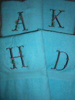 Custom embroidered bath sheets for 10.00 each