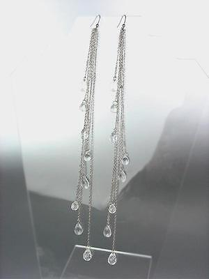 CHIC Long Drippy Multi Silver Chains Acrylic Crystals Shoulder Duster -